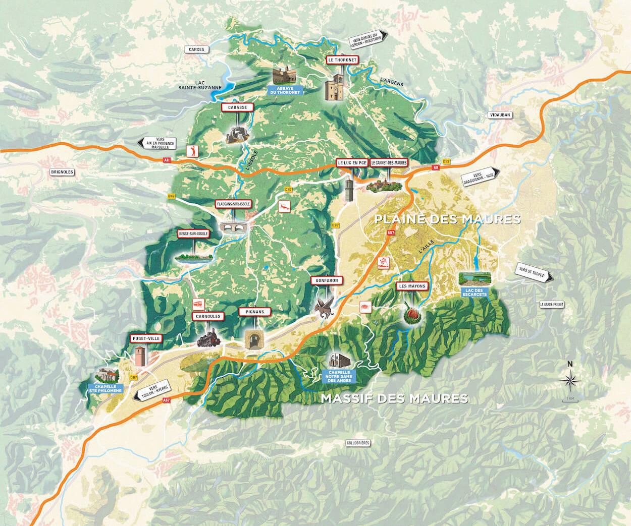Carte des villages de Coeur du Var